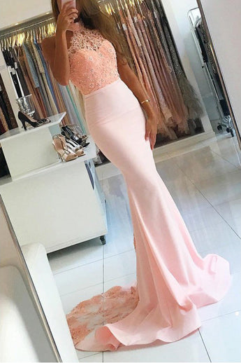 Pink Long Sexy Backless Mermaid Satin Sleeveless Lace High Neck Beads Prom Dresses UK PH393