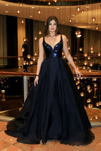 2018 A-Line V-Neck Dark Blue Sleeveless Satin Floor-Length Sweep Train Prom Dresses uk PH259