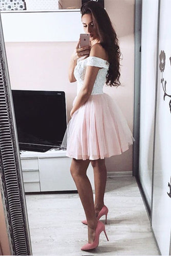 Pretty Lace V Neck Tulle Off the Shoulder Light Pink Sweetheart Homecoming Dresses PH721