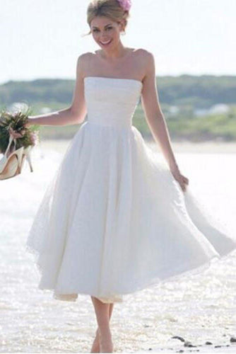 A-Line Ivory Short Sleeveless Pleated Tea-length Strapless Backless Wedding Dresses UK PH372