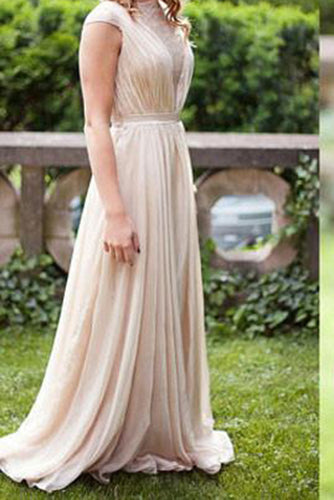 A-line Chiffon Long Simple High Neck Prom Dresses UK Floor-length Ruched with Cap Sleeves PH295