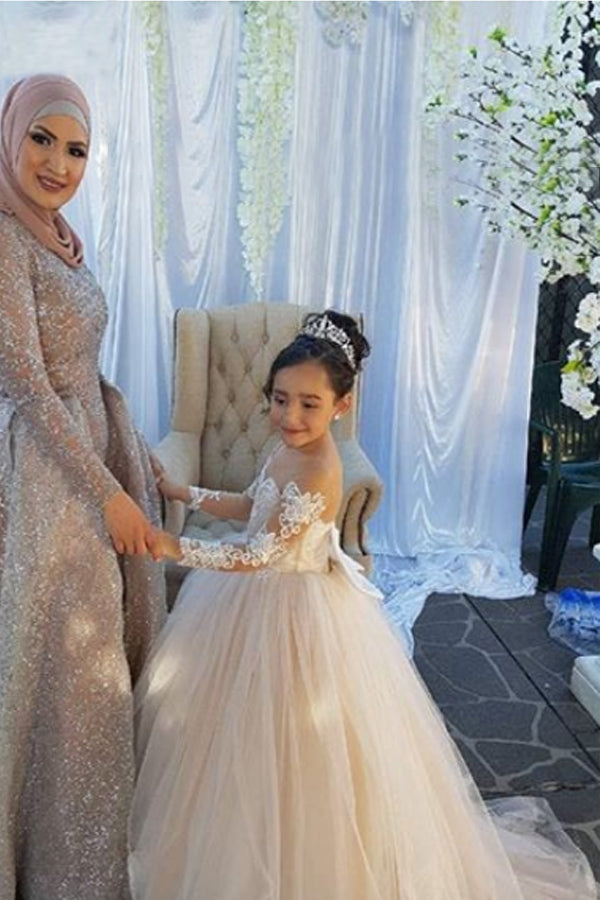 Ball Gown Round Neck Light Champagne Tulle Bowknot Flower Girl Dress with Appliques PM770