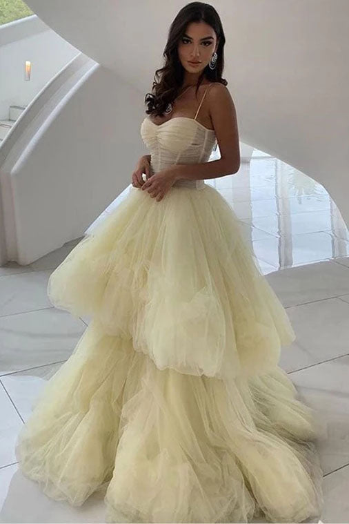 Princess A Line Spaghetti Straps Daffodil Layers Tulle Prom Dresses, Sweetheart Prom Gowns P1374