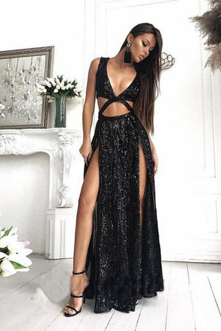 2018 Charming Sexy Sequin Sparkly Simple Rose Gold and Black Split Fashion Prom Dresses PH452