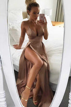 Brown Satin Thigh-High Slit Deep V-Neck Spaghetti Straps Long A-Line Prom Dresses UK PH433