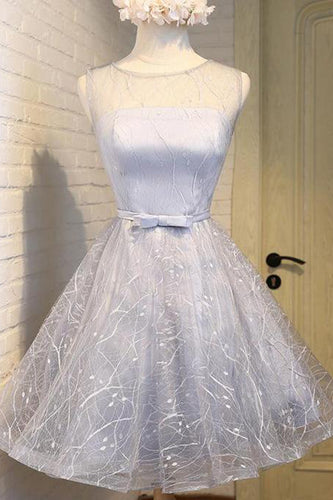 Cute Silver A Line See Through Scoop Organza Top Cheap Lace up Homecoming Dresses uk PH866