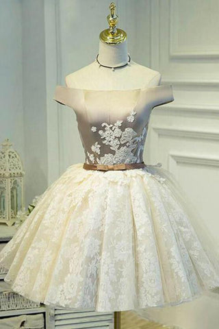 A Line Off the Shoulder Lace up Bowknot Cute Ivory Lace Homecoming Dresses uk PH830