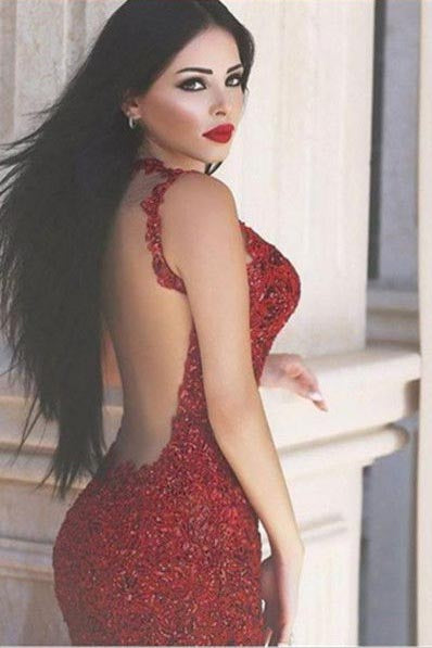 Sexy Burgundy Mermaid V-Neck Sleeveless Floor-Length Appliques Prom Dresses uk PM283