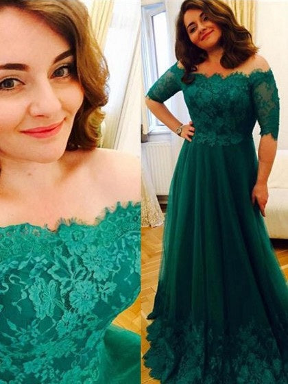 A-line Off-the-Shoulder Floor-Length Tulle with Appliques Lace Half Sleeve Prom Dresses uk PM623