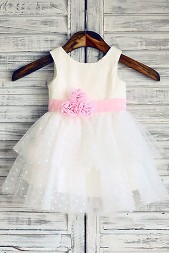 Ball Gown Scoop Neck Tulle Ivory Elastic Woven Satin Short Mini Tiered Flower Girl Dresses PH735