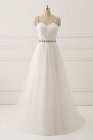 A Line White Spaghetti Straps Tulle Beads Appliques Sweetheart Zipper Prom Dresses PH597