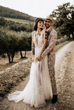 Sexy See Through Thigh Split V Neck Beach Wedding Dresses Beads Tulle Vintage Bridal Dress W1218