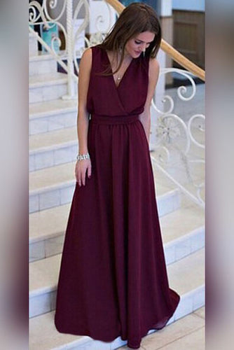 Simple A-line V-neck Chiffon Sweep Train Burgundy Sleeveless Sashes Prom Dresses UK PH404