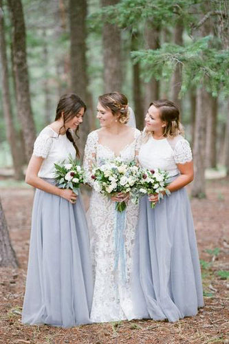 Short Sleeve White Top Light Grey Tulle Skirt Popular Floor-Length Bridesmaid Dresses PM519