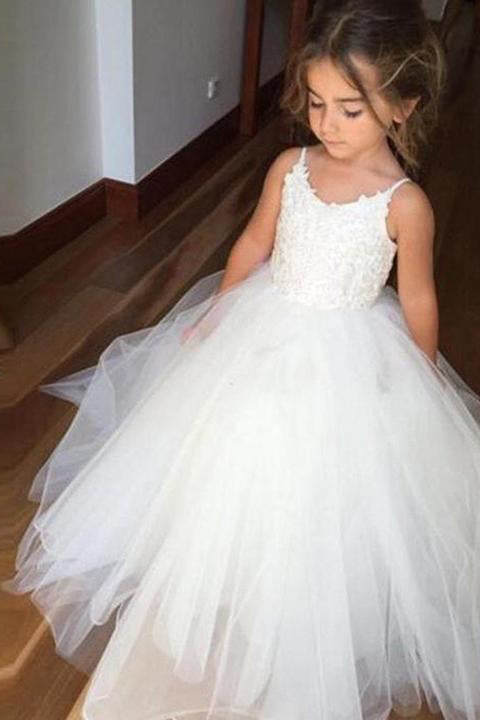 2dd0d660b65 A Line Spaghetti Straps Lace Top White Tulle Flower Girl Dresses For  Wedding Party PH773