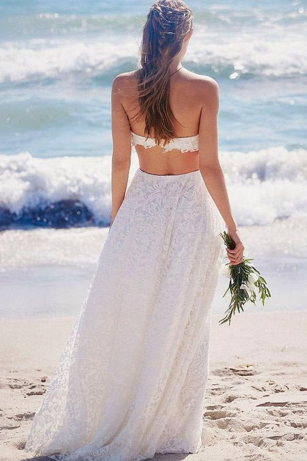 A-Line White Sweetheart Strapless Lace Long Beach Open Back Wedding Dresses PM268
