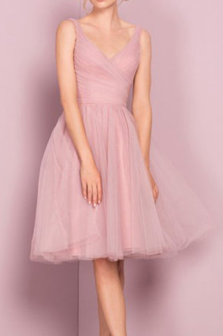 Princess A-line Knee Length Short Pink V Neck Tulle Homecoming Dress, Party Dress PH680