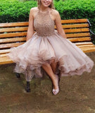 Modest Halter Short Beaded Tulle Cute Mini Homecoming Dresses PM96