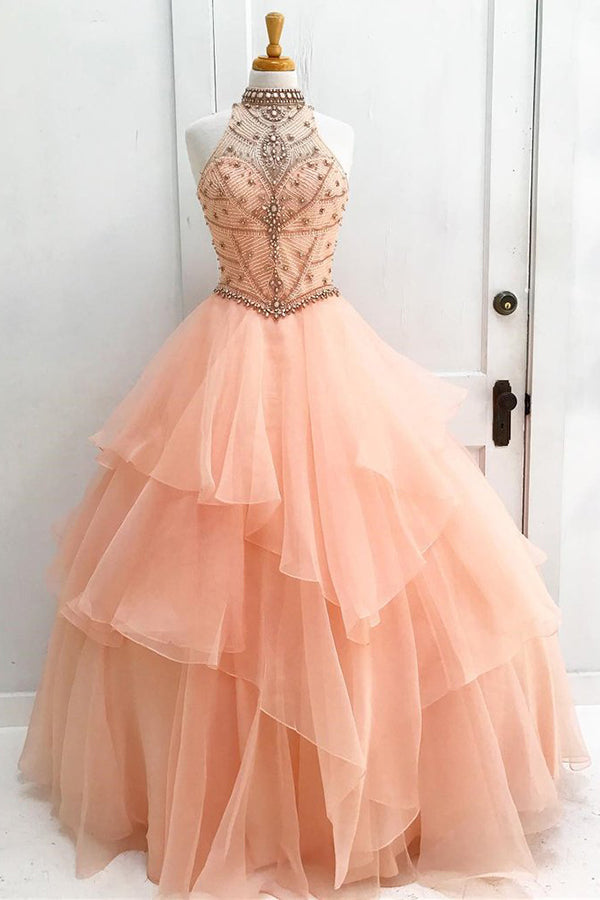 Chic A-Line Halter Open Back Sleeveless Pearl Pink Beading Tulle Modest Long Prom Dresses uk PH221