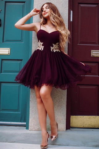 Maroon Mini Spaghetti Straps Sweetheart Lace Applique Above Knee Short Hoco Dresses PH865