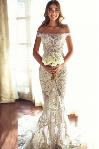 Fashion Mermaid Off-the-Shoulder Court Train Ivory Sleeveless Tulle Wedding Dress with Lace P4