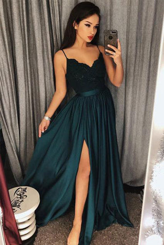 Dark Green Spaghetti Straps Split Front Lace Long Sleeveless Prom Dresses PH570