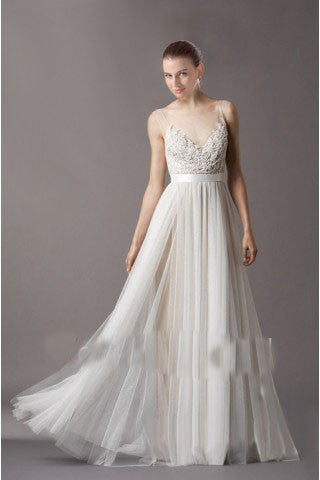 Awesome A-line V-neck Appliqued Wedding Dress with Buttons H66