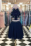 Unique Dark Blue Two Piece Short Prom Dress,Halter Flowers Chiffon Homecoming Dresses PH758