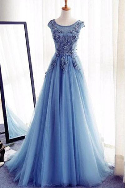 Charming Tulle Blue Lace up A-Line Appliques Long Sleeveless Scoop Prom Dresses uk,Z123