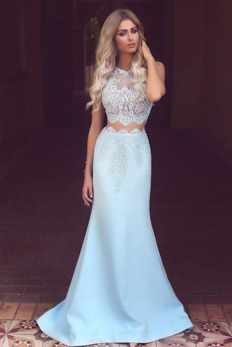 Elegant Two Piece Mermaid Blue Lace High Neck Cap Sleeve Satin Prom Dresses UK PH419