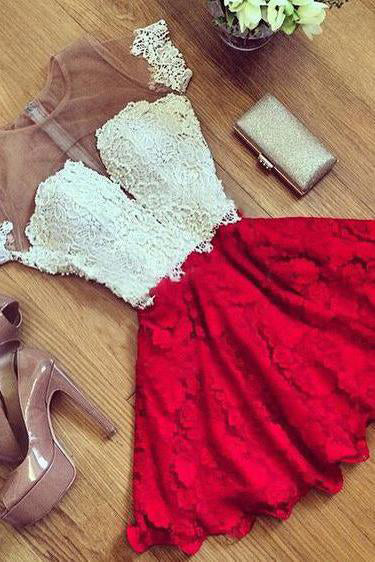 Cute Red Lace Short Sleeve Knee Length Homecoming Dress,Cheap Cocktail Dresses PH470