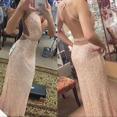 New Arrival Sequin Long Sweetheart Spaghetti Straps Criss Cross Beads Prom Dresses uk PM762