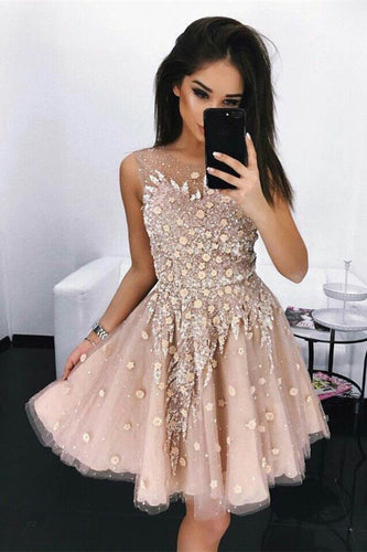 Modest A-Line Round Neck Short Blush Beads Unique Illusion Pleats Homecoming Dresses PH682