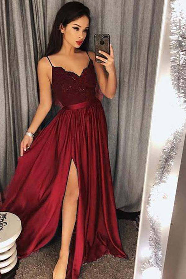 d0619d9c875 Chic A Line Spaghetti Straps Long Lace Burgundy V Neck Maxi High Split Prom  Dresses PH655
