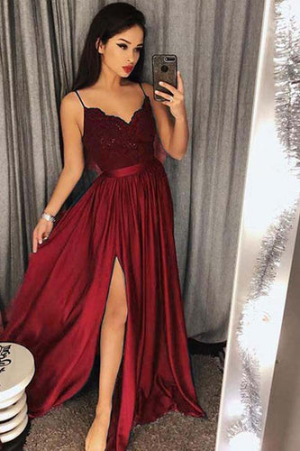 Chic A Line Spaghetti Straps Long Lace Burgundy V Neck Maxi High Split Prom Dresses PH655