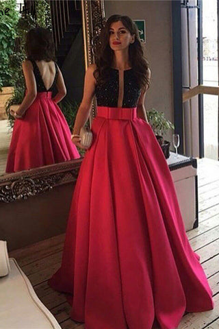 Red Open Back Beads Bowknot with Pockets Round Neck Sleeveless Prom Dresses UK PH511
