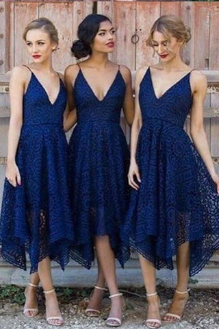 Navy Blue Deep V-neck Spaghetti Straps Sleeveless Asymmetry Lace A-line Bridesmaid Dress PH624