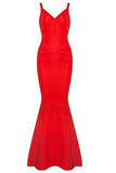 V-neck Backless Fishtail Bandage Red Formal Maxi Dress Long H2082