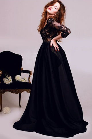 New Style Black 3/4 Sleeves Lace Satin V-Neck A-Line Floor-Length Evening Dresses UK PH282