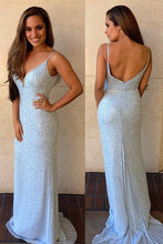 Cheap Floor-Length Sleeveless V-Neck Mermaid Beads Backless Spaghetti Strap Prom Dresses uk PM615