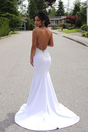 Elegant Lace Appliques V-Neck Backless White Sweetheart Spaghetti Straps Mermaid Wedding Dress PH179