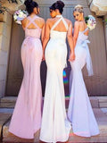 Elegant Mermaid Long Convertible Bridesmaid Dress,Long Bridesmaid Dresses with Sash PM70