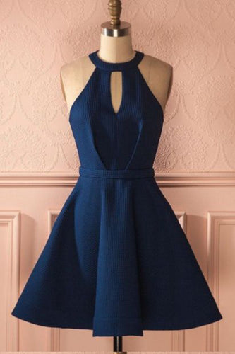 A-Line Jewel Keyhole Dark Blue Satin Short Sleeveless Cute Mini Homecoming Dresses PM196