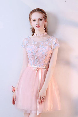 A Line Pink Tulle Cap Sleeves Scoop Short Prom Dresses with Flowers, Homecoming Dress PH878