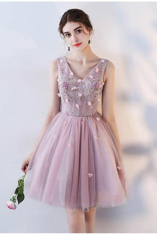 Pink A Line V Neck Flowers Short Homecoming Dresses,Mini School Dress