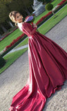 Long Sleeves Off the Shoulder Burgundy Sweetheart Satin Lace Ball Gown Prom Dresses UK PH435
