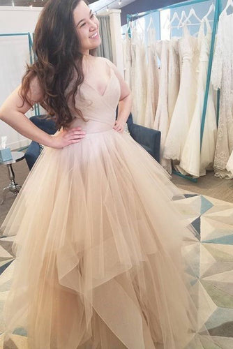 Elegant A Line V Neck Spaghetti Straps Ball Gown Multi LayerTulle Prom Dresses uk PH800