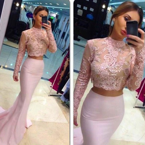 Pale Pink Two Pieces Long Sleeves Lace Mermaid See Through Jewel Neckline Prom Dresses uk PM201