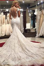 Gorgeous Scoop Illusion Back Cap Sleeves Court Train Lace Sexy Mermaid Wedding Dresses PW285