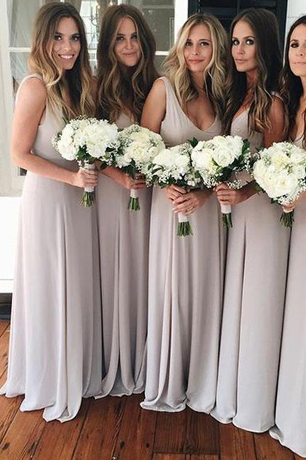 A Line V Neck Chiffon Sleeveless Gray Formal Cheap Prom Bridesmaid Dresses PH669